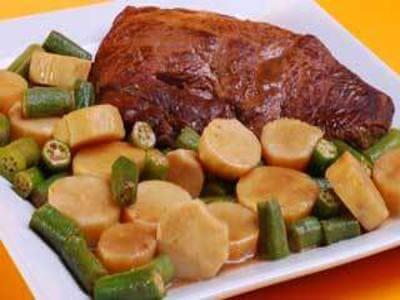 receita de coxão duro com quiabo e batata