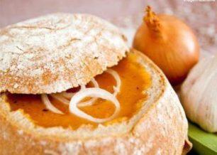 Receita de creme de abóbora no pão italiano