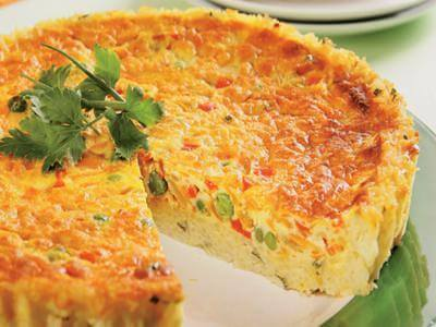 Receita de torta de vegetais com massa de arroz