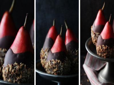 Receita de pera com chocolate e nozes
