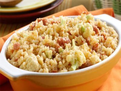 Receita de arroz com calabresa e couve-flor