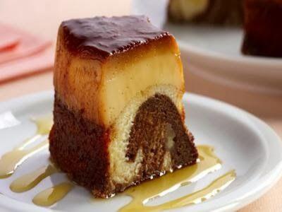 Receita de bolo-pudim mesclado