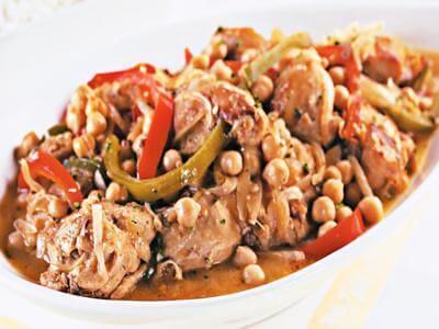 Receita de cozido de frango e grão-de-bico