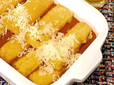 Receita de polenta frita com calabresa