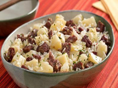 Receita de risoto de carne seca e batatas