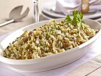 Receita de arroz da sorte com lentilha e bacalhau
