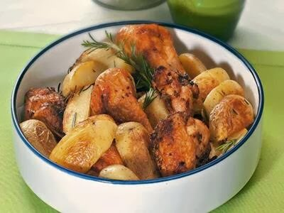 Frango picante com batata ao forno