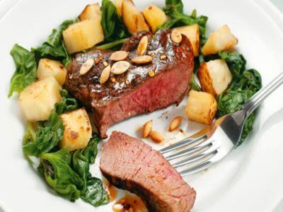 Receita de bife com espinafre