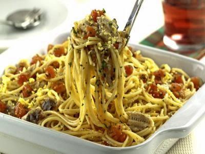Receita de espaguete com sardinha