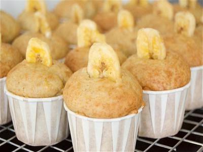 Receita de muffins de banana com cobertura