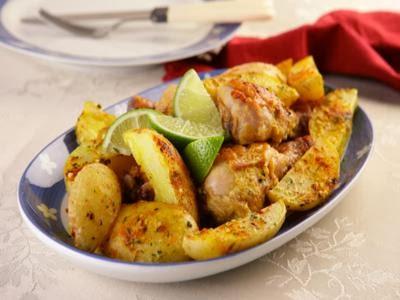 Receita de frango assado com batatas picantes