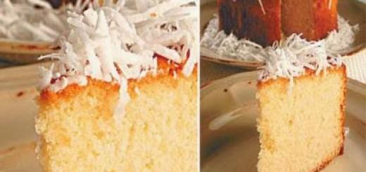 Receita de bolo de coco com calda de caramelo