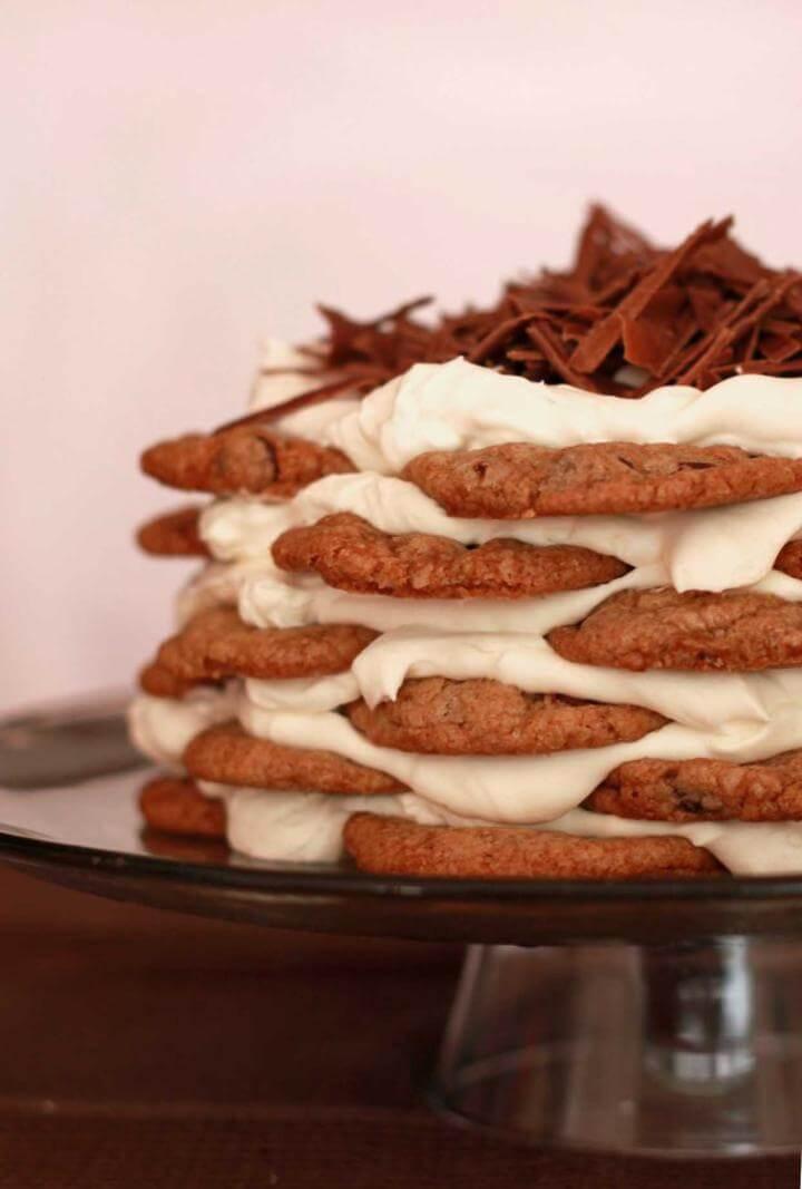 Receita de bolo de cookies com sorvete